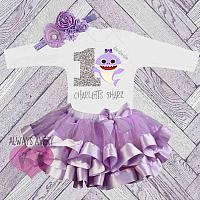 Cute Personalized Shark Lavender and Silver Birthday Tutu Outfit (Ages 1-6)