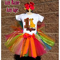 Rainbow and Leopard Print Lion King Birthday Girl Tutu Outfit - Personalized Ages 1-16
