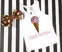 LV Inspired Pink Ice Cream Tanks Tshirts For Babies, Toddlers, Kids and Women