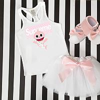 Pink Supreme LV Baby Shark Tutu Outfit For Babies, Toddlers, Kids and Women