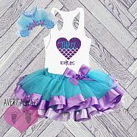 Cute Personalized Mermaid Purple and Blue Glitter Birthday Tutu Outfit (Ages 1-6)