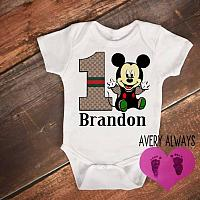 Gucci Inspired Mickey 1st Birthday Bodysuit For One Year Old Baby Boys - Personalized