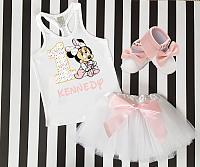 Pink Supreme LV Minnie 1st Birthday Tutu Outfit For One Year Old - Personalized