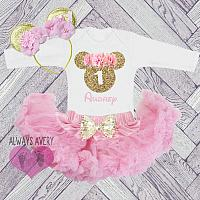 Cute Pink and Gold Minnie Glitter Personalized First Birthday Full and Fluffy Tutu Outfit