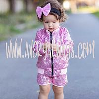 2 Piece Pink and Black Sequin LOL Surprise Birthday Shorts Outfit Ages 1 - 5
