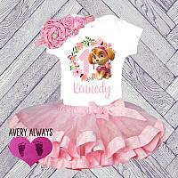 Pink Floral Paw Patrol Inspired Skye Birthday Tutu Outfit (Ages 1-6)