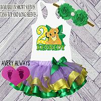 The Lion King Lavender, Green and Gold Birthday Tutu Outfit  Personalized (Ages 1-6)