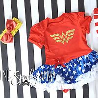 Wonder Woman Glitter Superhero Tutu Costume For Baby Girls